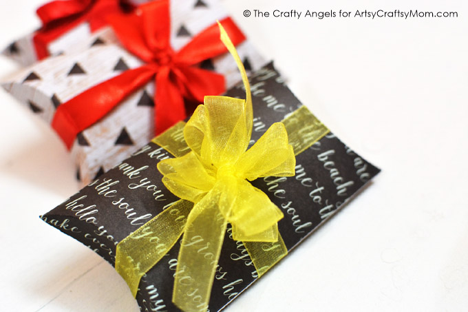 DIY Pillow Gift Box Tutorial with a free template. Pillow Boxes are a great choice for packing small things and add a touch of personality to your gifts