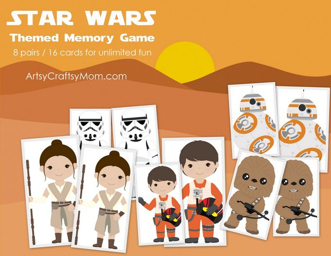 Double the excitement of watching the latest Star Wars movie with our new Star wars Themed Matching name. Has 8 characters (16 cards) and an instruction leaflet. Print, Cut & play. Bonus star wars themed backing sheet.