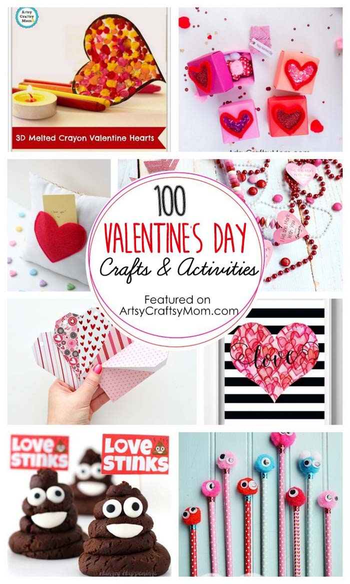 The Ultimate List of 100+ Valentine's Day Crafts and Activities is here - includes ideas for DIY gifts, cards, decor, treats and much more!