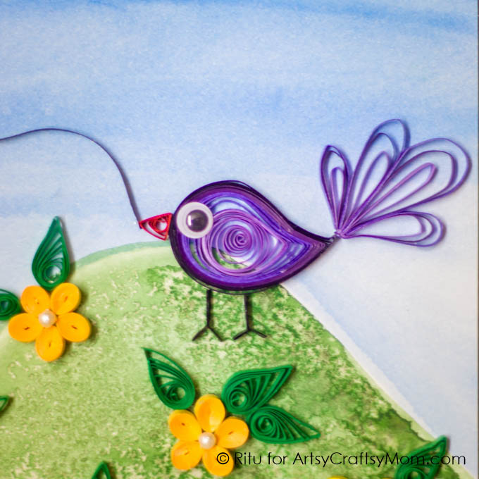 Bring back the charm of a handmade card with this DIY Quilled Sankranti Greeting Card that features a cute little bird and a colorful kite!