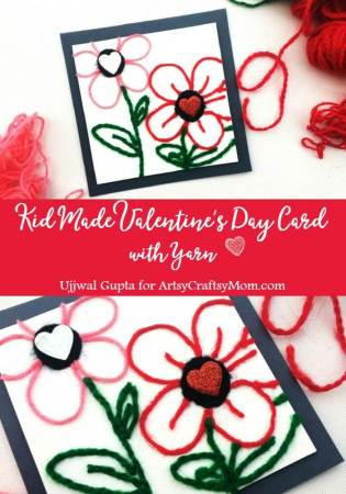 Kid-made Valentine's Day Card with Yarn