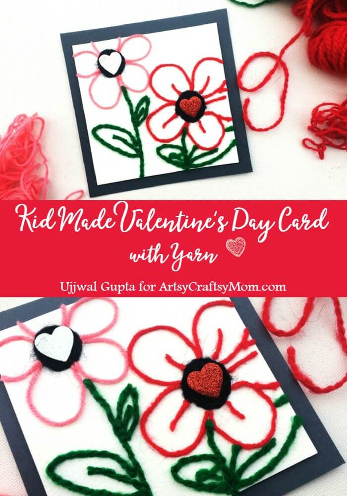 Step away from the pipe cleaners and googly eyes and try something different, like this kid-made Valentine's Day Card with Yarn!