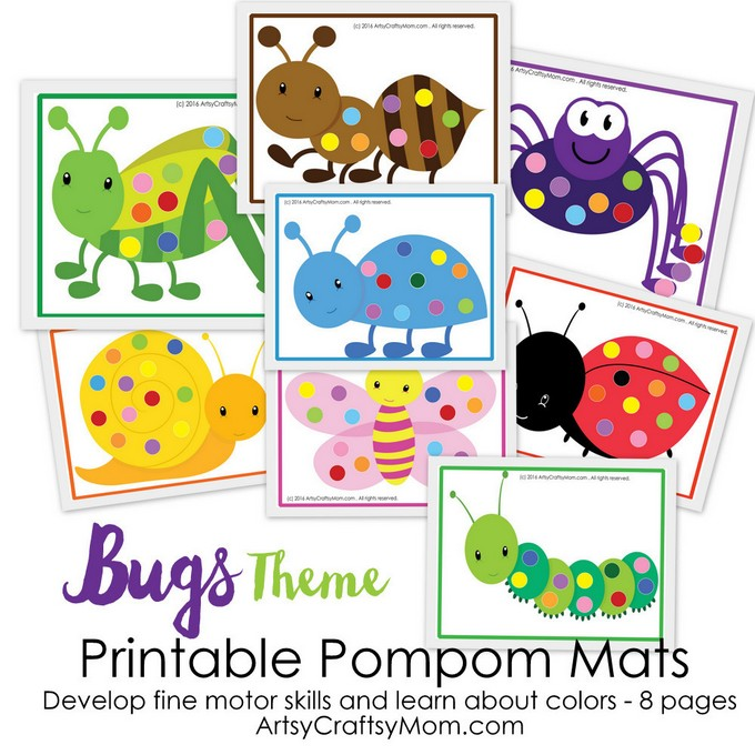 This printable Bug Theme Pom-Pom Match activity is perfect for preschoolers and young learners to develop fine motor skills & color recognition!