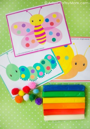 Printable Bug Theme Pom-Pom Match