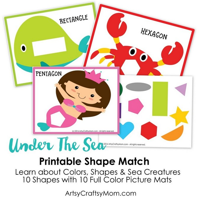 This Montessori-inspired Printable Under the Sea Theme Shape Match develops motor skills and is perfect to teach kids about shapes, colors and sea animals!