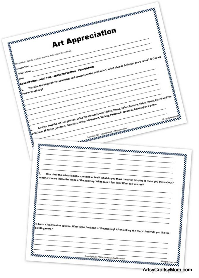 Famous Artists Free Printable Puzzle and Art Appreciation Worksheet – Art Analysis Worksheet