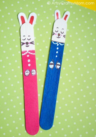 Craft Stick Easter Bunny Bookmarks