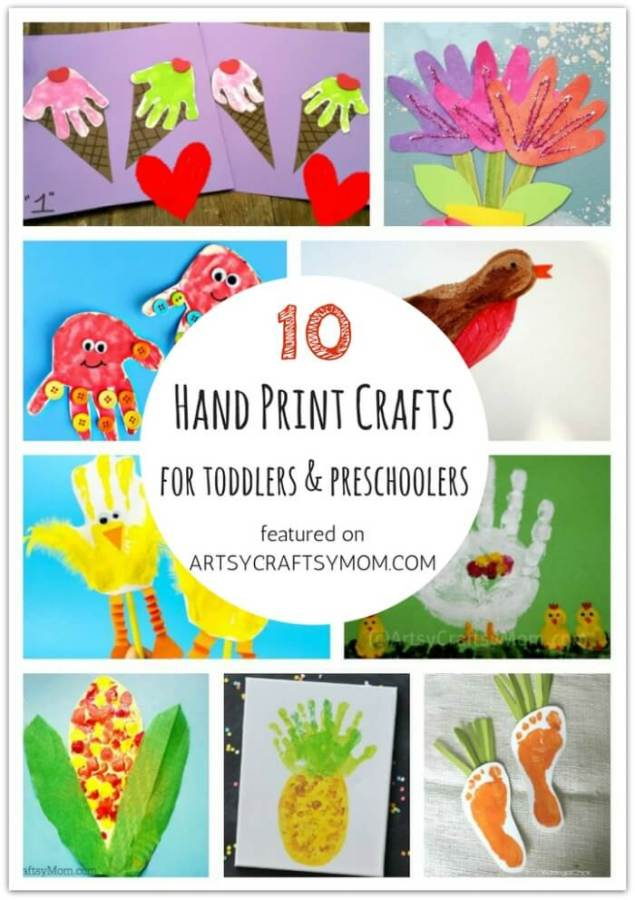 Don't let little kids feel left out when crafting! Here are 10 Handprint crafts and activities for toddlers and preschoolers, designed specifically for them!