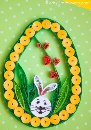 This Quilled Easter Egg Craft includes all iconic elements of Easter: a bunny, the Easter egg and spring flowers! Perfect as wall art or on a greeting card!