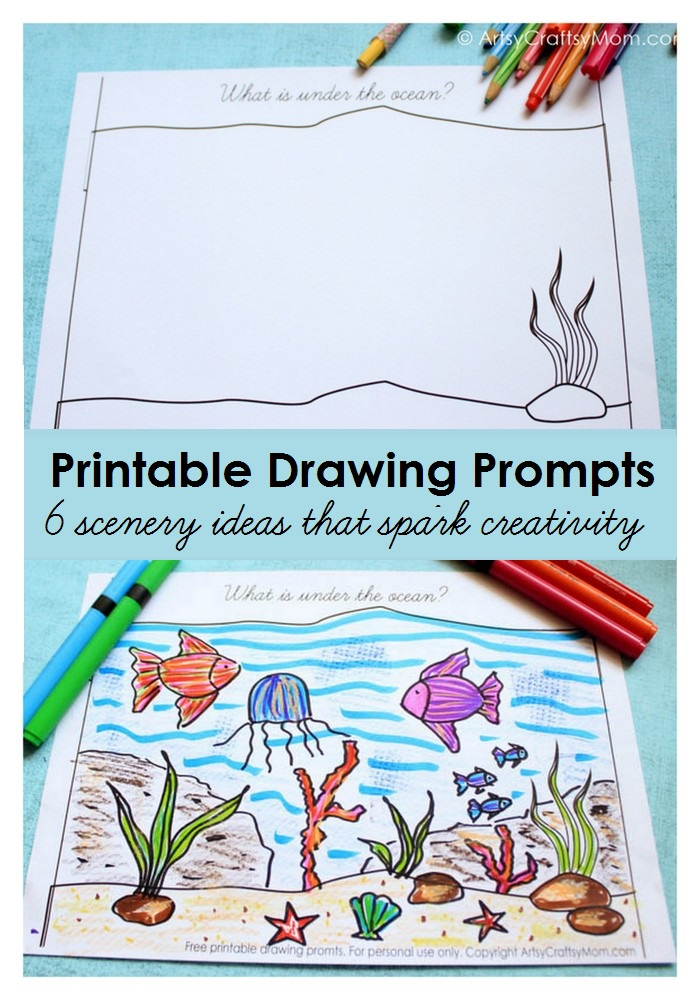 give your kids some drawing inspiration with our free printable scenery drawing prompts choose from - Printable Drawing Paper