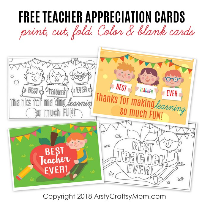 This is a picture of Free Printable Cards for Teachers regarding easy