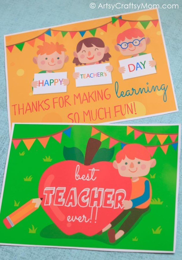 Being a teacher is hard work! Get our Free Printable Teacher Appreciation Cards to show your child's teacher how much you appreciate what they're doing!