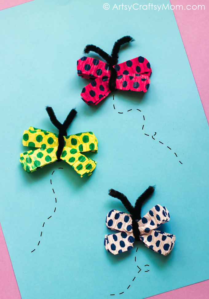 Make this easy crepe paper butterfly craft with just two materials! Perfect for little kids to make and stick on cards, gifts or the walls of their room!