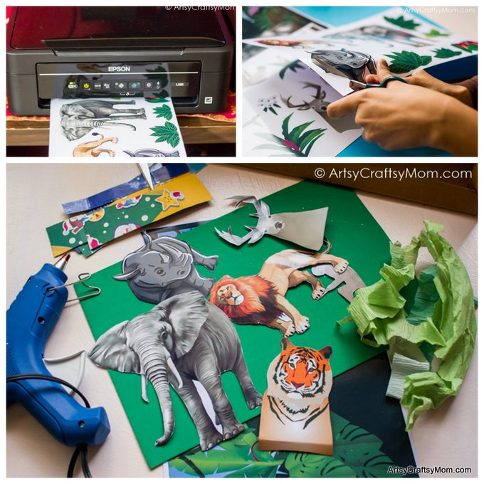 We made a 3D Forest Diorama School Project in no time with our New Epson L385 InkTank Printer! Download Free Printable Animals & Backdrop #PrintedOnEpson. Perfect for show & tell, habitat study or a science display at school