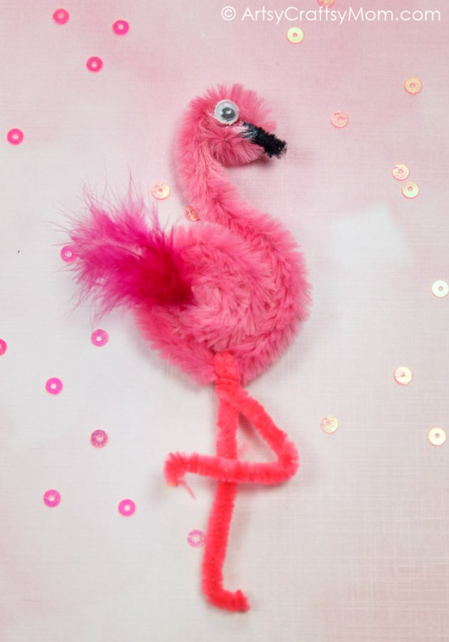 Flamingoes are characterized by their bright pink feathers and elegant long legs. Make your own pet flamingo with this Pipe Cleaner Flamingo Craft for Kids.