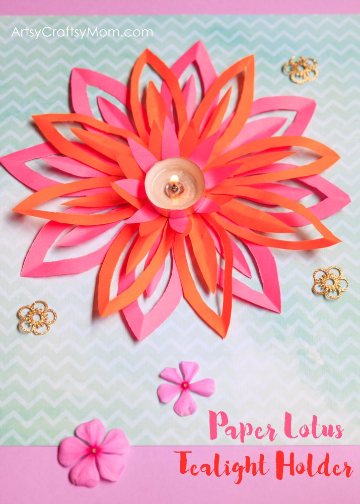 How To Make A Paper Lotus Tealight Holder Diwali Crafts