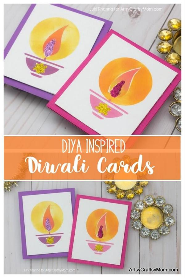 Recreate your Childhood Diwali Memories with these colorful Diya Inspired Diwali Cards that kids can Make at Home