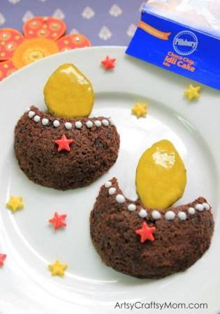 Pillsbury Choco Chip Idli Cake Diya #PillsburyWaliDiwali