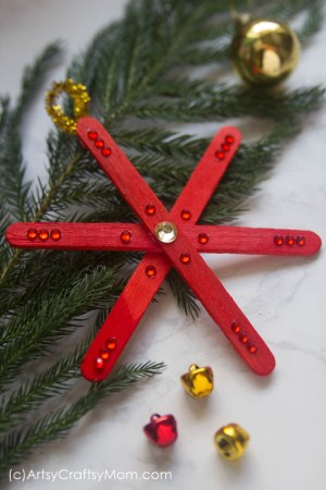 DIY Popsicle Stick Snowflake Ornament