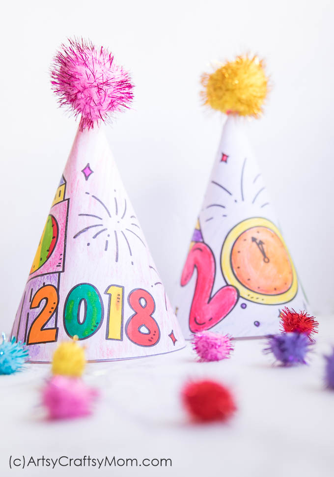 Ring in the New Year with style wearing our printable New Year's Eve Coloring Party Hats! Print. Color. Cut. Wear, #newyearcraft #partyhat