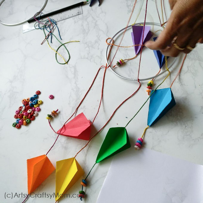 Sankranti Craft For Kids Diy Paper Kite Mobile Artsy Craftsy Mom