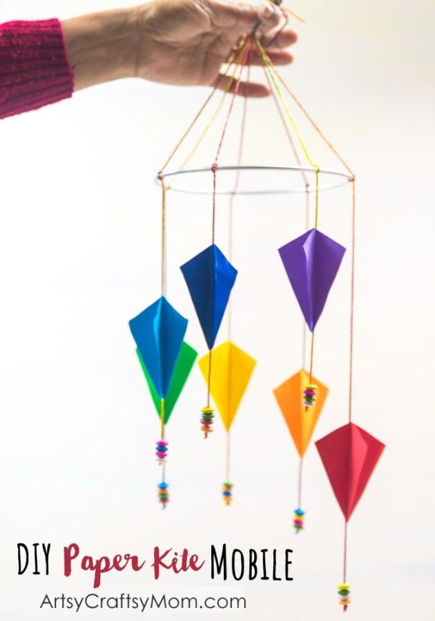Sankranti Craft For Kids Diy Paper Kite Mobile Artsy Craftsy Mom