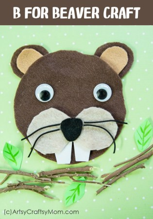 Make an adorable B for Beaver CD Craft with Printable Template suitable for forest animals, mammals, letter B theme, Canada Day theme or just for fun.