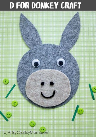D for Donkey Craft with Printable Template