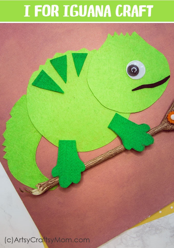 Make an I for Iguana Craft (Printable Template) that's perfect for learning about herbivores, lizards, the reptile family, tropical forest, or Letter I