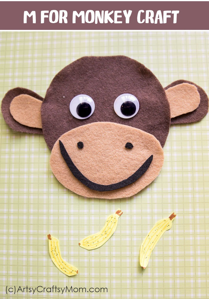 Monkey Crafts For Kids Part - 15: Make This Adorable M For Monkey Craft Using Our Printable Template Thatu0027s  Perfect For A Jungle