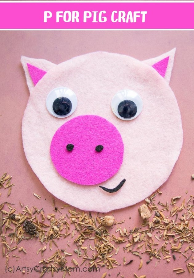Make this adorable P for Pig Craft using our Printable Template that's perfect for learning about domestic animals, farm life or the letter P.