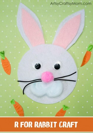 R for Rabbit Craft with Printable Template