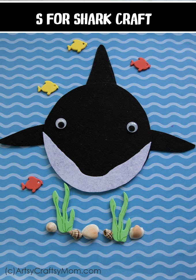 S for Shark Craft with a Printable Template - Artsy Craftsy Mom