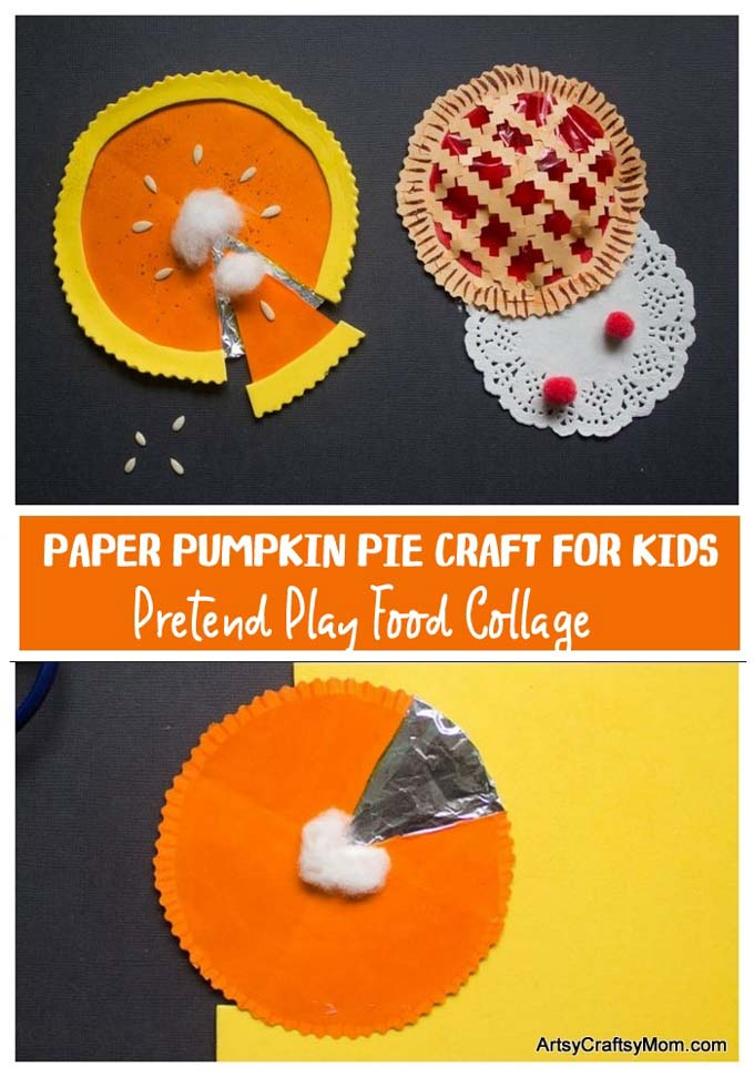 Take pretend play food to the next level with a fun Paper Pie Craft for kids! Make cherry, pumpkin and blueberry pies out of simple paper collages!