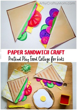 Pretend Play Food Collage – Paper Sandwich Craft for Kids