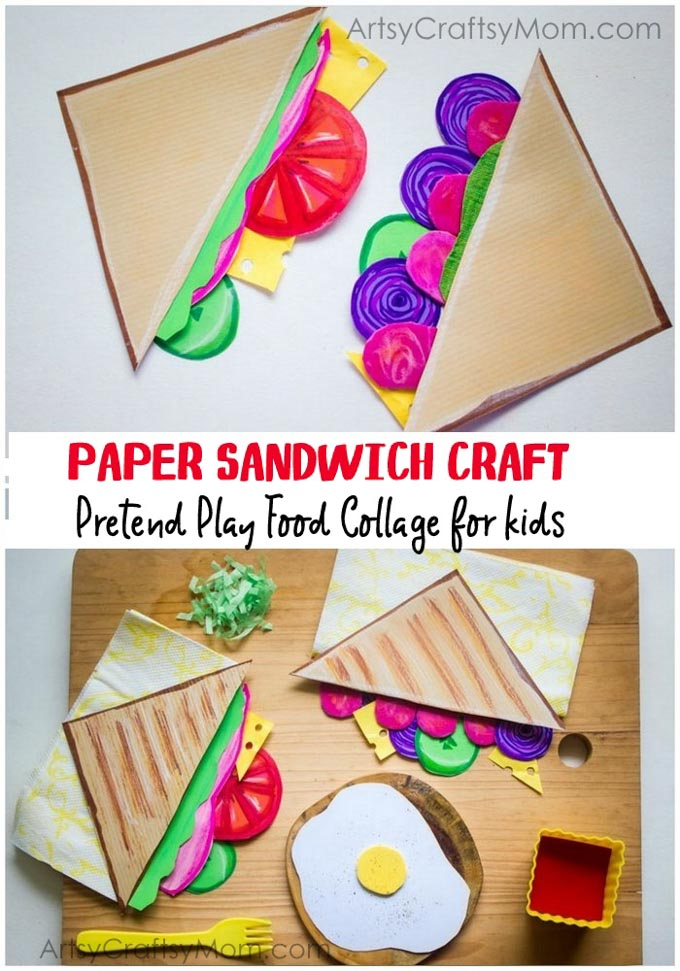 Pretend Play Food Collage - Paper Sandwich Craft for Kids