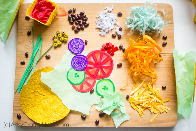 Taco Tuesday will now mean something different, with our super-colorful Paper Taco Craft for kids! Packed with beans, veggies and lots and lots of cheese!!