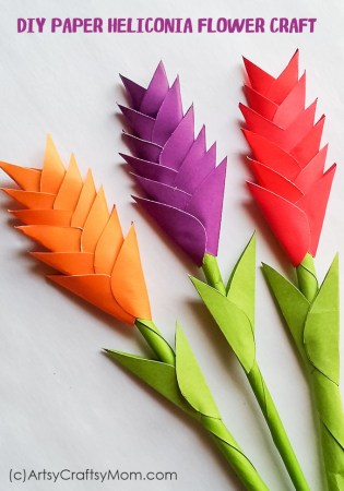 DIY Paper Heliconia Flower Craft