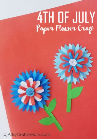 4th of July Paper Flower Craft for Kids