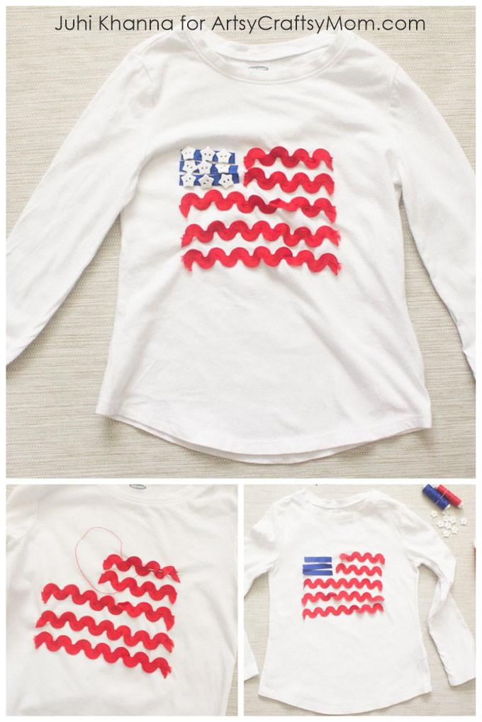 Transform stuff you already have and go all out Americana in this DIY American Flag-inspired Outfit that's perfect for a 4th of July picnic or barbecue!