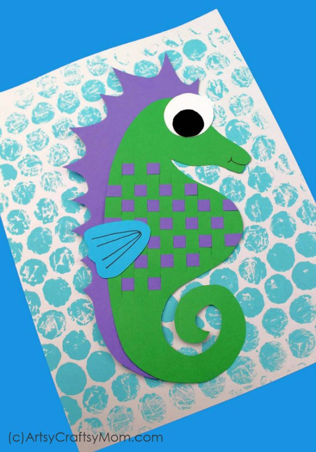 Learn about an amazing sea creature with this paper weaving seahorse craft for kids! Includes multiple techniques of cutting, printing and weaving.