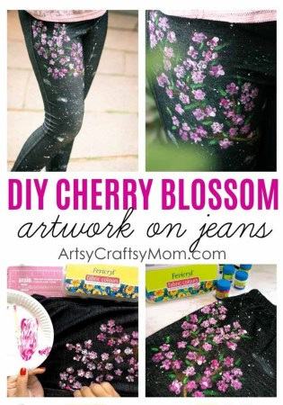 How to DIY Cherry Blossom Art on Jeans | Back to School DIY – ArtsyCraftsyMom