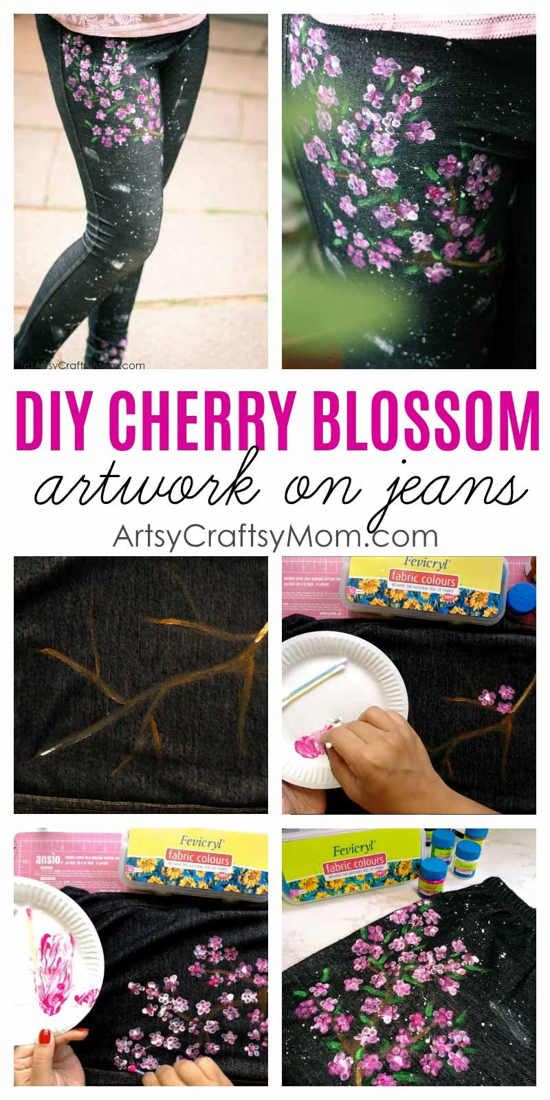 DIY Cherry Blossom Art on Jeans. Transform boring jeans into a gorgeous fashion statement that your teen can flaunt just in time for back to school.