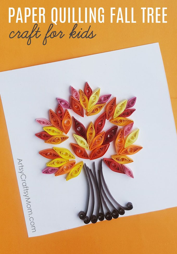 Easy Paper Quilling Fall Tree Craft Autumn Crafts Artsy Craftsy Mom