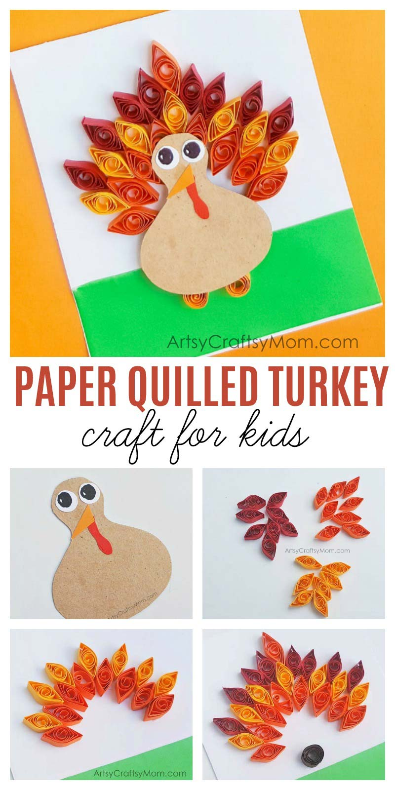 DIY Paper Quilled Turkey Craft is one of the cutest Thanksgiving Craft projects. Perfect as an Autumn / Fall Card or as a name card for your Thanksgiving dinner