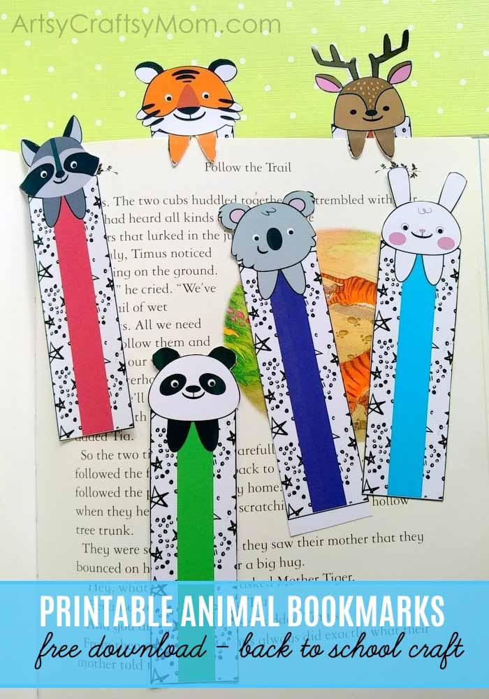 Back to School Printable Animal Bookmarks