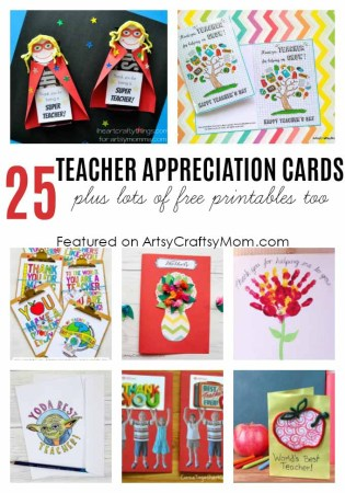 25 Awesome Teacher Appreciation Cards with Free Printables! - Print & personalize thank you cards that kids can make and Teachers will love!