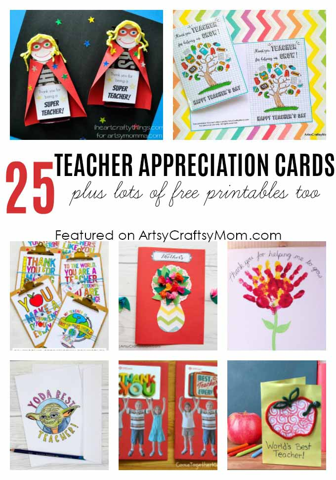 Printable Teacher Appreciation Card - 25 Awesome Teachers Appreciation Cards with Free Printables! - Print & personalize thank-you cards that kids can make and Teachers will love!