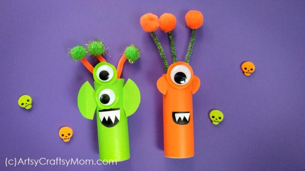 Make these cute cardboard tube aliens with brightly colored paper and huge googly eyes! Perfect Halloween craft for kids, or even if you have a space fan at home!