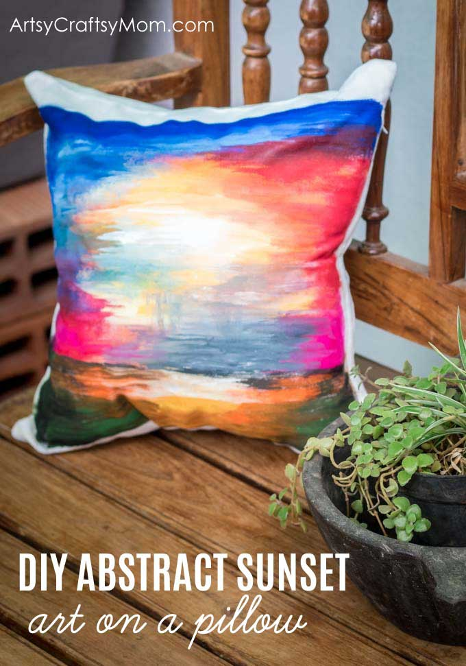Sunset Art Pillow Cover Painting Tutorial using Fevicryl Fabric Colors